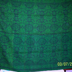 Covor din lana traditional autentic taranesc, tesut manual la razboi, cu model geometric specific, verde, Ardeal/ Transilvania-Alba, 1950, NOU - Covor vechi