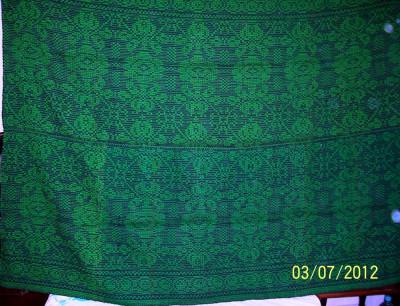 covor din lana traditional autentic  taranesc, tesut manual la razboi, cu model geometric specific, verde, Ardeal/ Transilvania-Alba, 1950, NOU foto