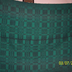 Covor din lana traditional autentic taranesc, tesut manual la razboi, cu model geometric verde, Ardeal/ Transilvania-Alba, 1950 - Covor vechi