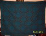 fata de masa din lana, model albastru traditional autentic  taranesc, tesuta manual in razboi, margine crosetata,Ardeal/ Transilvania-Alba, 1940, NOUA