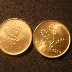 20 Lire Italia, 1978 si 1979, alama, necirc., d=2, 1cm.