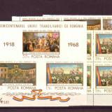Romania L687, 8.4x+4 Semicentenar Unirii Transilv.1968 bloc 4 +4 colite dant - Timbre Romania