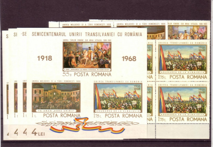 Romania L687,8.4x+4 Semicentenar Unirii Transilv.1968 bloc 4 +4 colite dant foto mare