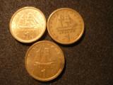 SET 3 monede 1 DRAHMA  GRECIA -1976 ,1978 ,1980 , bronz