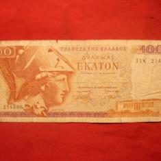 Bancnota -100 DRAHME, 1978, GRECIA, cal.mediocra