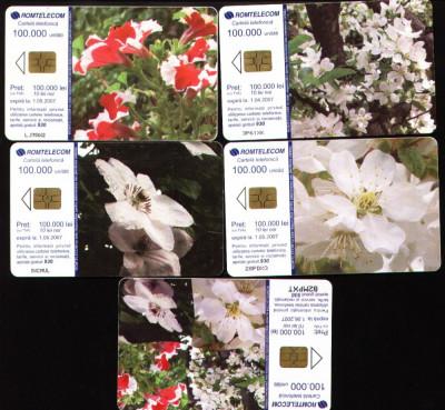 Set de 5 cartele telefonice romtelecom Flori puzzle, 2005 foto