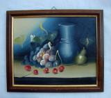 Pictura ulei pe carton - natura moarta - vase cu struguri (2)