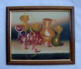 Pictura ulei pe carton - natura moarta - vase cu struguri (3)