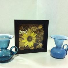 Tablou decorativ cu flori uscate / Bonus: 2 buc. suport pentru lumanare