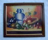 Pictura ulei pe carton - natura moarta - vase cu struguri (1)