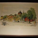 Litografie veche suedeza semnata R.Eriksson, datata 1965