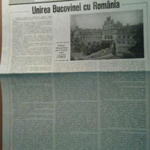 ziarul septentrion -unirea bucovinei cu romania