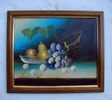 Pictura ulei pe carton - natura moarta - vase cu struguri (4)