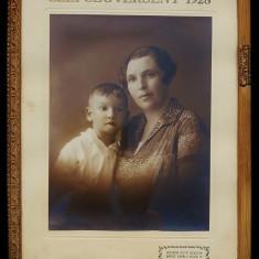 Tablou FOTOGRAFIE Interbelica Szepsegverseny Mama Si Fiu 1928 - Tablou autor neidentificat, Portrete, Carbune, Fauvism