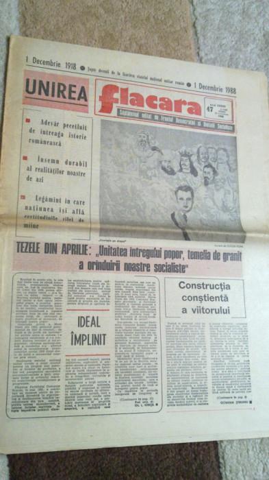 ziarul flacara 25 noiembrie 1988 (70 de ani de la unire ) foto mare