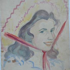 Portret, Sotia pictorului, Acuarela, de Rascu Gelu, pictor consacrat din Campulung Moldovenesc, Bucovina, originar din Chisinau, Basarabia - Pictor strain