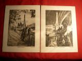 Lot de 4 Gravuri semnate L. Heymann  , 12 x 16 cm