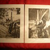 Lot de 4 Gravuri semnate L. Heymann, 12 x 16 cm - Pictor strain