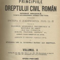 D.Alexandresco / PRINCIPIILE DREPTULUI CIVIL ROMAN - vol.II, editie 1926 - Carte Drept civil