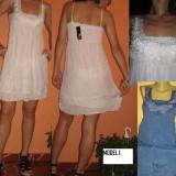 Rochie/ rochita de vara cu bretele-reducere - Rochie de zi, Marime: M/L, Culoare: Alb, Albastru, Fara maneca, Bumbac