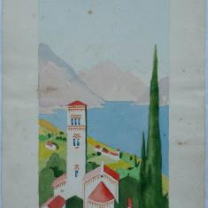 Acuarela de Rascu Gelu, pictor consacrat din Campulung Moldovenesc, Bucovina, originar din Chisinau, Basarabia - Pictor strain