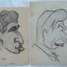 2 caricaturi de Rascu Gelu, pictor consacrat din Campulung Moldovenesc, Bucovina, originar din Chisinau, Basarabia - Pictor strain