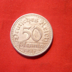 50 Pf.1921, Germania, lit. A, aluminiu, d=2, 3cm. cal. BUNA
