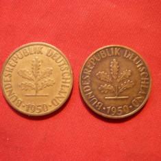 Set -10 Pfenigi 1950 litere:F si D, RFG, bronz, cal.Buna, d=2, 1