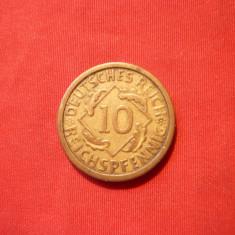 10 Pfenigi, 1925, Germania, litera A, bronz, st. Buna, d=2cm.
