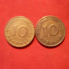 Set -10 Pfenigi 1949 litere:F si G, RFG, bronz, cal.Buna, d=2, 1
