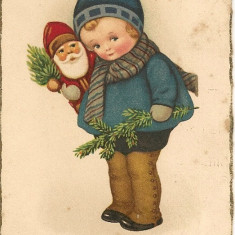 Carte postala - Felicitare, Sarbatori fericite - 1928 ( 2 )