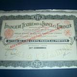 BANCA FINANCIARA A TEXTILELOR  - Actiuni de 500 franci / 1921