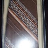 CRAVATA de COLECTIE,noua,maro+bej+caramiziu (arabescuri+dungi), cutie, de lux, produse Matasea Populara,anii`80 din poliester