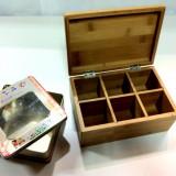 Caseta din bambus pentru ceai sau condimente /Bonus:Caseta metalica cu fereastra - Solnita
