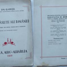 Ion Clopotel, Satele raslete ale Romaniei, habitatul rasfirat prin muntii Transilvani si Banateni, Alba Iulia, 1939, cu autograf si pagina manuscris - Carte Editie princeps