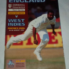 Program meci cricket England - West Indies (1995)