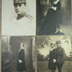 FOTOGRAFII  VECHI DE COLECTIE - MILITAR  - INCEPUT DE 1900 - LOT DE 4 BUC
