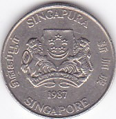Moneda Singapore 20 Centi 1987 - KM#52 VF