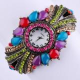 Frumos ceas de dama (Quartz) cu cristale multicolore - Ceas dama, Analog, Nou