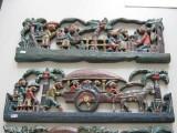 Panou decorativ - decoratie lemn - fresca - scena de viata - arta asiatica