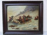 Cumpara ieftin Peisaj de iarna cu sanie 1922 , tablou vechi , pictura veche, pictor