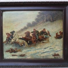 Peisaj de iarna cu sanie 1922 , tablou vechi , pictura veche, pictor, Animale, Ulei, Realism