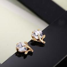 Frumosi cercei 9k gold filled, cu cristale de zirconiu, fini si draguti, in forma de floare - Cercei placati cu aur