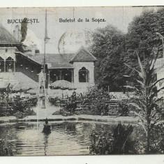 BUCURESTI : BUFETUL DE LA SOSEA - circulata 1916, timbre