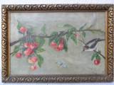 Crenguta cu cirese si pasare, pictura veche pe panza