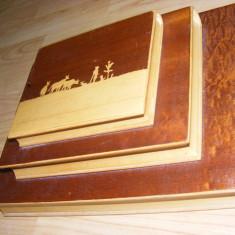 BIBLIORAFT foarte vechi, LEMN cu INTARSII, pentru BIROU, CASETA LEMN