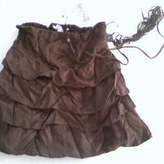 Fusta Zara mini BERSHKA maro volane noua cu eticheta merge la S/M tip piele intoarsa -TRANSPORT GRATIS LA PLATA IN AVANS, Cu volane, Bumbac