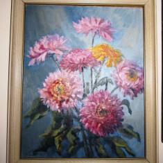 Tablou JEAN SAVAGE, Garden Reach, pictat pe panza, mare - SUPERB!!! - Pictor roman, Flori, Ulei, Art Deco