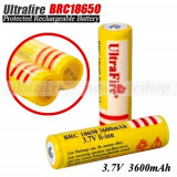 Acumulator UltraFire BRC 18650 3, 7V 3600 mAh - reincarcabil - Baterie Aparat foto