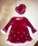 Rochie de Craciunita pentru fete de 12 - 24 luni, cu bonetica, ca noua